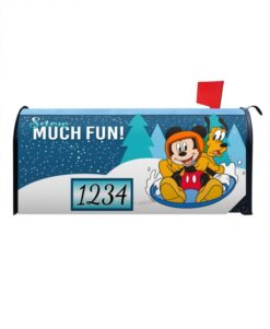 Mickey Mouse Pluto Sledding Winter Disney Mailbox Cover