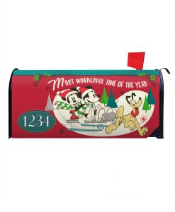Mickey Mouse Sledding Disney Christmas Mailbox Cover