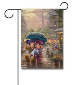 Mickey Mouse and Minnie Mouse Paris Thomas Kinkade Disney Garden Flag