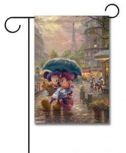 Mickey Mouse and Minnie Mouse Paris Thomas Kinkade Disney Garden Flag