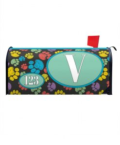 Colorful Paw Prints Magnetic Monogram Mailbox Cover