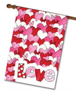 Love Hearts Valentine's Day House Flag