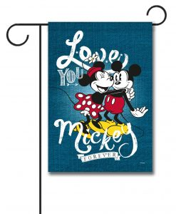 Mickey Mouse and Minnie Mouse Hugging Garden Disney Flag