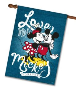 Mickey Mouse and Minnie Mouse Hugging House Disney Flag