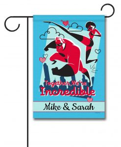 Personalized Incredibles Valentine's Garden Disney Flag