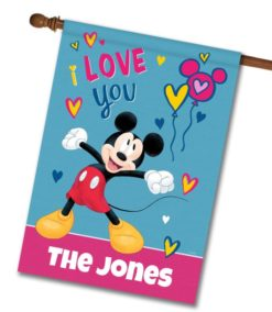 Personalized Mickey Mouse I Love You House Disney Flag