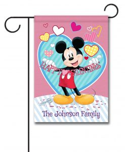 Personalized Mickey Mouse Valentine's Day Garden Disney Flag