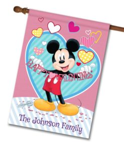 Personalized Mickey Mouse Valentine's Day House Disney Flag