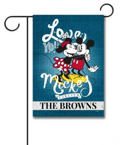 Personalized Mickey Mouse and Minnie Mouse Hugging Garden Disney Flag