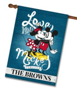 Personalized Mickey Mouse and Minnie Mouse Hugging House Disney Flag