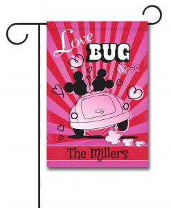 Personalized Mickey Mouse and Minnie Mouse Love Bug Garden Disney Flag