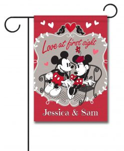 Personalized Mickey Mouse and Minnie Mouse Love Garden Disney Flag