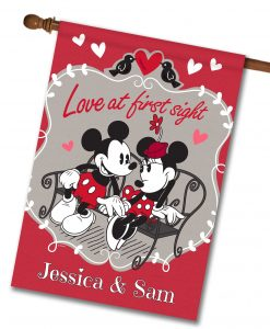 Personalized Mickey Mouse and Minnie Mouse Love House Disney Flag