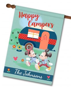 Personalized Mickey and Minnie Disney Camper House Flag