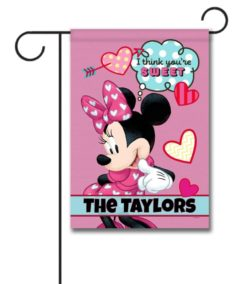Personalized Minnie Mouse Sweet Hearts Garden Disney Flag