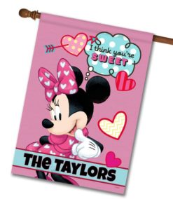 Personalized Minnie Mouse Sweet Hearts House Disney Flag