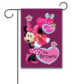 Personalized Minnie Mouse Valentine's Garden Disney Flag