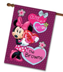 Personalized Minnie Mouse Valentine's House Disney Flag