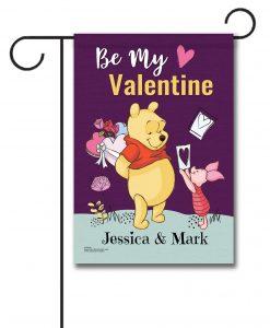 Personalized Winnie the Pooh Valentine's Garden Disney Flag