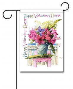 Pink Hibiscus Valentine's Day Garden Flag