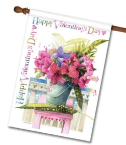 Pink Hibiscus Valentine's Day House Flag