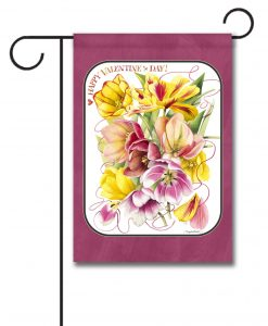 Valentine's Day Pink and Yellow Flowers Garden Flag