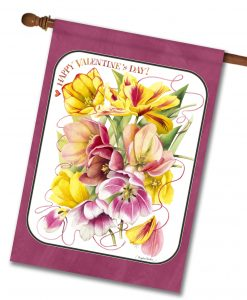 Valentine's Day Pink and Yellow Flowers House Flag