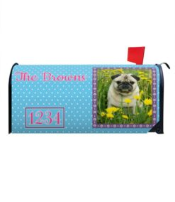 Springtime Blue Personalized Photo Magnetic Mailbox Cover