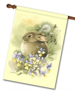 Bunny in Meadow - House Flag - 28'' x 40''