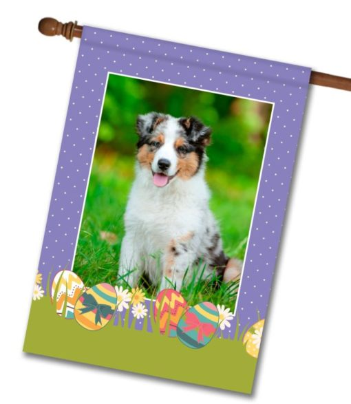 "Polka Dots & Easter Eggs Photo Flag - House Flag - 28"" x 40"""