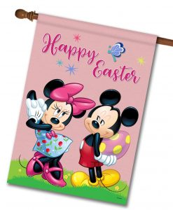 Happy Easter Mickey & Minnie - House Flag - 28'' x 40''