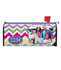 Spring Chevron Personalized Photo Magnetic Mailbox Cover