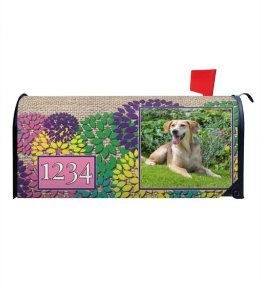 Spring Flowers & Burlap Personalized Photo Magnetic Mailbox Cover