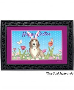 Happy Easter Basset with Ears Doormat