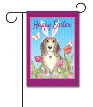 Happy Easter Basset Bunny Ears - Garden Flag - 12.5'' x 18''