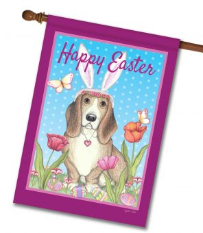 Happy Easter Basset Bunny Ears - House Flag - 28'' x 40''