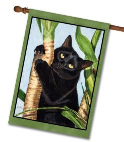Palm Tree Cat - House Flag - 28'' x 40''