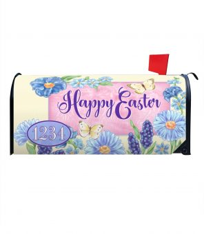 Blue Easter Flowers Personalized Magnetic Mailbox Cover