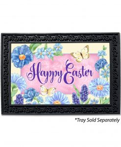 Blue Easter Flowers Doormat