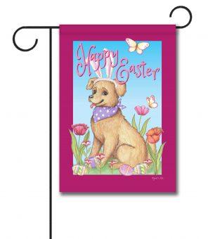 Happy Easter Spring Dog - Garden Flag - 12.5'' x 18''