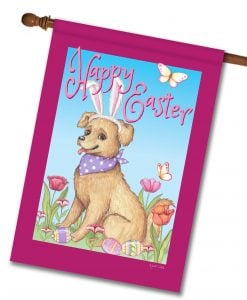 Happy Easter Spring Dog - House Flag - 28'' x 40''