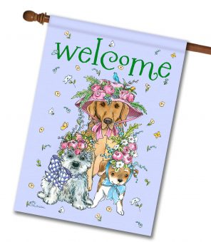 Easter Bonnets Dogs - House Flag - 28'' x 40''