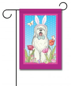 Old English Sheepdog Bunny Ears - Garden Flag - 12.5'' x 18''