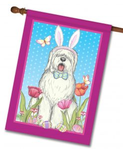 Old English Sheepdog Bunny Ears - House Flag - 28'' x 40''
