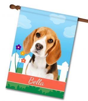 Personalized Spring Beagle III - House Flag - 28'' x 40''