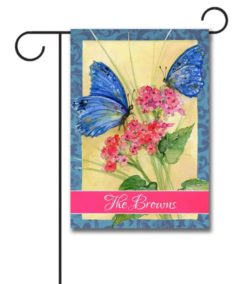 Personalized Blue Butterflies  - Garden Flag - 12.5'' x 18''