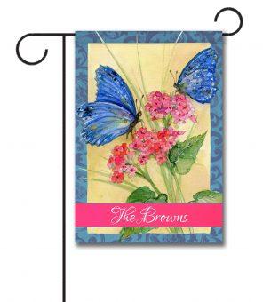 Personalized Blue Butterflies  - Garden Flag - 12.5'' x 18''