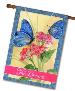 Personalized Blue Butterflies - House Flag - 28'' x 40''