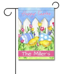 Personalized Happy Easter Chicks and Eggs  - Garden Flag - 12.5'' x 18''