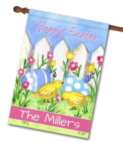 Personalized Happy Easter Chicks and Eggs - House Flag - 28'' x 40''